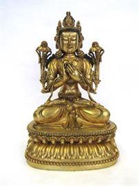 A Fine Gilt Bronze Figure of Avalokitesvara