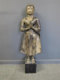 A Life Size Bronze Cambodian Buddha