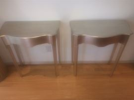pair silver end tables