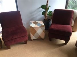pair of lazy boy slipper chairs and a vintage lamp table with storage