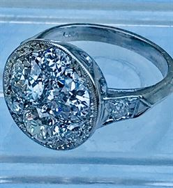 Vintage Ladies 14K White Gold Diamond Ring Featuring 3 Larger Old Euro Cut Diamonds Ranging from .60 - .75 ct,F-G Color and VS Clarity and 5 approximately .07- .10 ct each, approximately 2.50 ct total dia. wt.