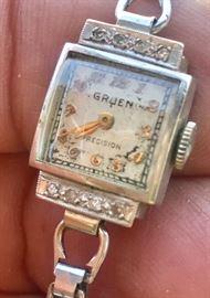 Vintage Ladies Gruen 14k White Gold Case Watch