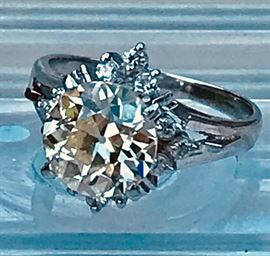Ladies Vintage Platinum Diamond Ring with 2.14ct M color VS1 clarity Old Euro Cut Center Stone flanked by 9 tiny round brilliant diamonds