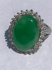 Ladies Vintage Jade & Diamond Ring White Gold Ring