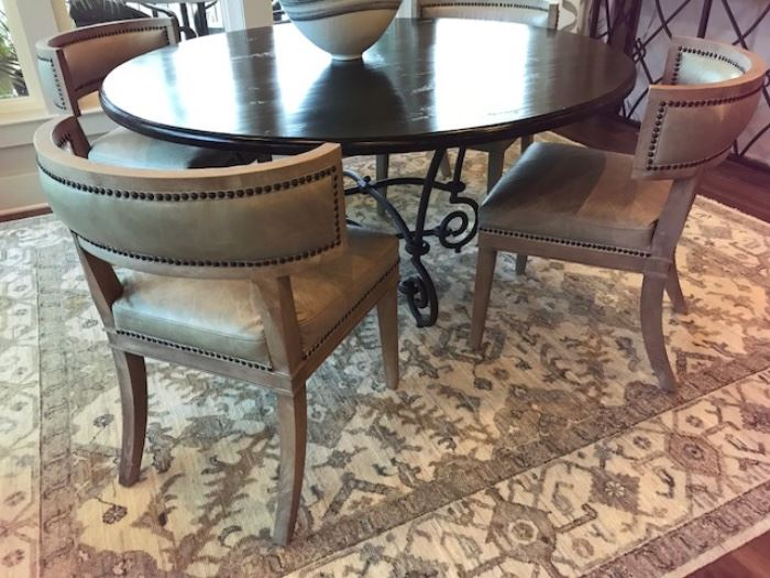 Set of 6 nailheads leather chairs