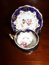 Antique cobalt blue edge with hand painted flowers cup & saucer