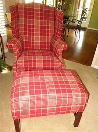 Harden plaid chair w/ottoman