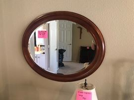 Beveled oval mirror