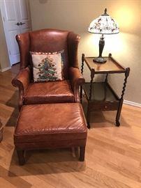 Ethan Allen leather chair and ottoman