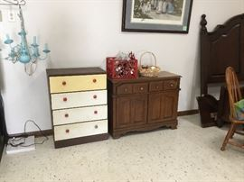 Chest, buffet and vintage turquoise lamp