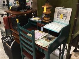 Desk & chair - lamps - vintage calendars