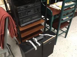 Cassette deck, radio, and speakers to stereo system - wood & metal shelf