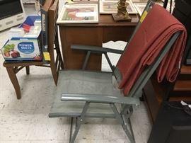 Desk, chair, vintage wooden folding chair