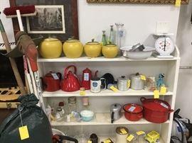 Estate garage items on left - vintage canister set, red enamelware.
