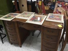 Dresser bottom - no mirror; set of vintage pictures