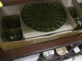 Green glass set of plates and cups