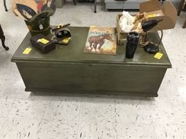 Vintage cedar chest -  also painted green