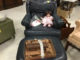 Blue leather easy chair with matching ottoman - another doll