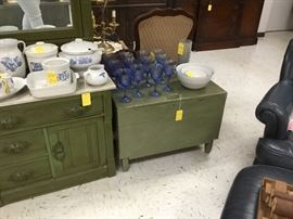 Small vintage chest (opens from top) also painted green
