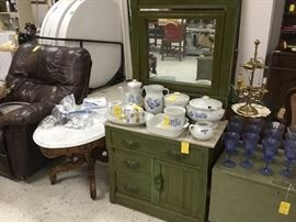 Dresser with marble top, great stoneware too