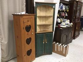 Corner cabinet and open heart oak cabinet