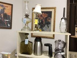 Vintage oil bottle, glass square bottle, oil lamp
