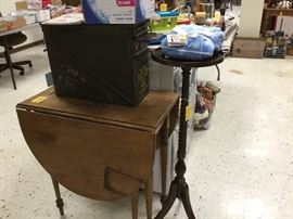 Drop leaf small table - great for an apartment, plant stand, large green metal ammo container