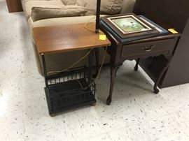 Lamp table and small Queen Anne table with drawer