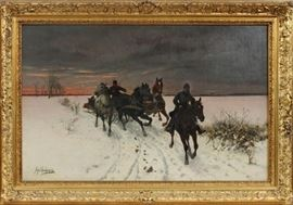 "JAN VAN CHELMINSKI (POLISH, 1851–1925), OIL ON CANVAS, CANVAS SIZE: H 28"", W 40 1/2"", TROIKA IN THE SNOW Lot # 2009"