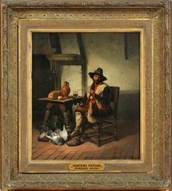"DAVID EMILE JOSEPH DE NOTER (BELGIAN, 1825–1892), OIL ON CANVAS, HUNTER'S RETURN, H 19 1/2"" W 16 1/2"" Lot # 2014"
