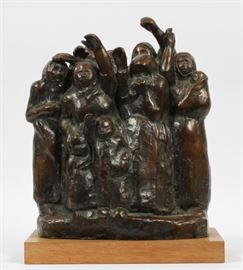 "KATHE KOLLWITZ, (GERMAN 1867–1945) BRONZE SCULPTURE, 1937, H 12.8"", W 10.6"" ""FAREWELL WAVING SOLDIERS' WIVES AND MOTHERS"" Lot # 2001"
