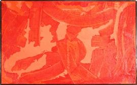 "DAVID EINSTEIN (AMERICAN 20TH CENTURY), NEO-EXPRESSIONIST ACRYLIC ON BELGIUM LINEN, H 39"", W 64"", ""UNTITLED"" Lot # 2038"