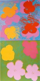 "ANDY WARHOL (AMERICAN, 1928–1987), SILKSCREENS ON WOVE PAPER, 1970, 2 FRAMED TOGETHER, PAPER & IMAGE SIZES: 35 7/8"" X 35 13/16"", & 36"" X 35 13/16"", ""FLOWERS"" Lot # 2057"