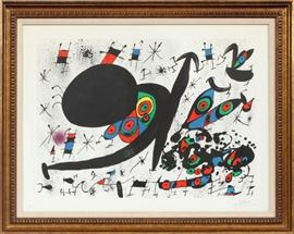 "JOAN MIRO (SPANISH 1893-1993), LITHOGRAPHS ON PAPER, 1971, SUITE OF FIFTEEN, EACH H 21 1/2"", L 29 1/2"", ""HOMENATGE A JOAN PRATS"" Lot # 2053"