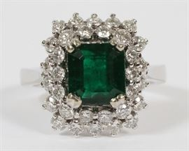 2.62CT NATURAL EMERALD & 1.20CT DIAMOND RING. GIA. SIZE: 6.75. Lot # 2087