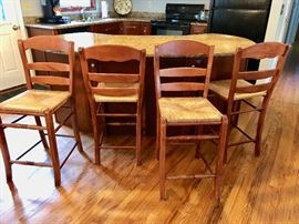 4 Rush Seat Ladderback Counter Stools
