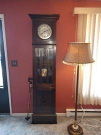 Living Room: Vintage Oak Grand Father Clock