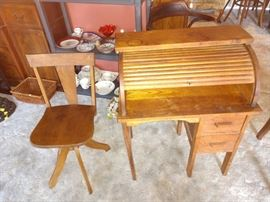 Garage Back Room: Childs Roll Top Desk w/Chair