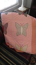 Antique pink butterfly quilt