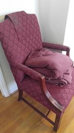 Burgandy upholstered chair