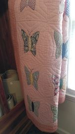 Love this vintage pink butterfly quilt