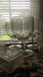 Thumb print etched grape glasses
