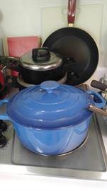 Nice blue cast iron Dutch oven