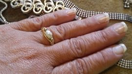 14k handmade salt water pearl ring