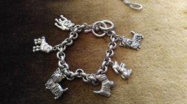 Sterling silver charm bracelet dogs