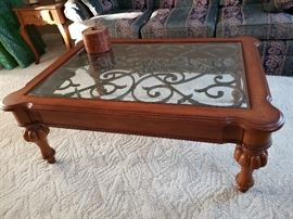 Ethan Allen  beveled glass, iron & wood coffee table