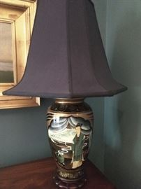 Me love you long time Asian table lamp, with shade , finial.