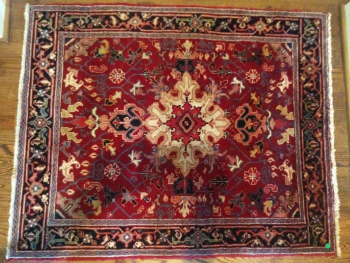 """Vintage Persian Mahal rug, hand woven, 100% wool face, measures 3' 2"""" x 4' 9""""."""