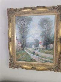 Original oil on canvas, by listed artist, John Clymer, in gold wooden frame.