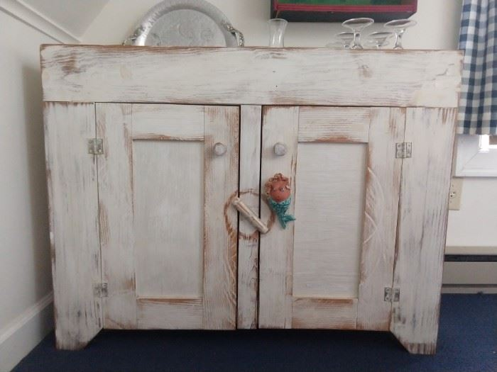 Distressed wood dry sink.                                                            Take a happy pill, let that sink in.